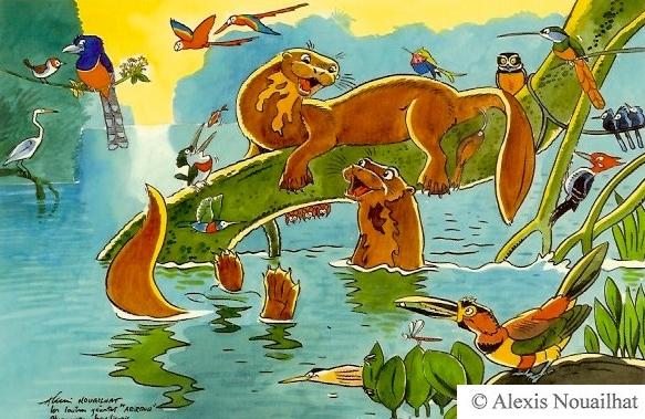 les loutres géantes Pantanal