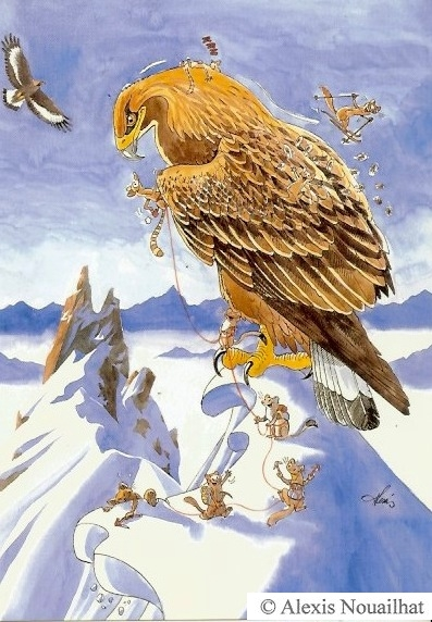l'aigle et petits alpinistes