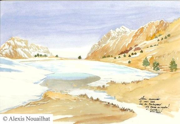le lac des Barbeyroux gelé Champsaur