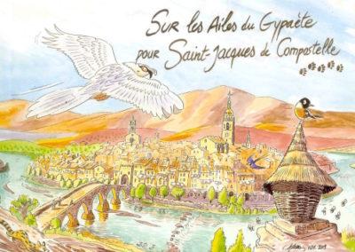 aquarelle St Jacues de Compostelle