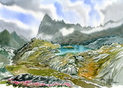 Le lac Merlat et le Pic Chauvin