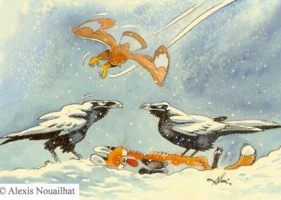 'aigle, les grands corbeaux et le renard